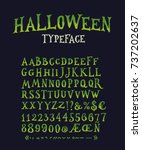 Stock vector vintage halloween original typeface retro creepy style halloween font vector illustration hand 737202637