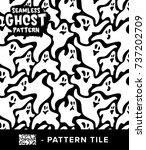 vintage black and white ghost... | Shutterstock .eps vector #737202709
