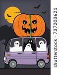 ghost and pumpkin vector in...   Shutterstock .eps vector #737203621