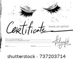 certificate of make up artist... | Shutterstock .eps vector #737203714