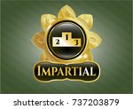 golden badge with podium icon... | Shutterstock .eps vector #737203879