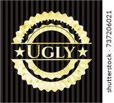 ugly golden emblem or badge | Shutterstock .eps vector #737206021