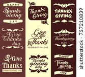 thanksgiving day typography set.... | Shutterstock .eps vector #737210839