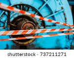 signal red tape for fast...   Shutterstock . vector #737211271