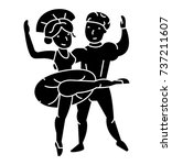 ballet couple  man and woman ... | Shutterstock .eps vector #737211607