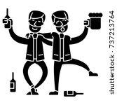 drunk people  two men drinking  ... | Shutterstock .eps vector #737213764