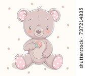 cute little bear with a... | Shutterstock .eps vector #737214835