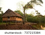a jungle lodge at sunset in the ... | Shutterstock . vector #737215384