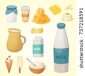 fresh organic milk products set ... | Shutterstock . vector #737218591