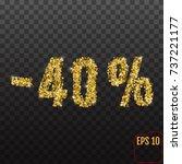 gold sale 40 percent. golden... | Shutterstock .eps vector #737221177