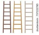 wooden ladder set. flat style.... | Shutterstock .eps vector #737222785