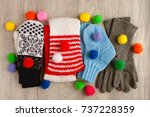 knitted clothes. knitted scarf  ... | Shutterstock . vector #737228359