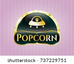 gold badge or emblem with ufo... | Shutterstock .eps vector #737229751