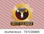 gold emblem with weightlifter...   Shutterstock .eps vector #737230885
