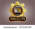 gold badge with money icon and ... | Shutterstock .eps vector #737232139