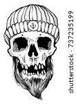 sailor skull hand drawn vector | Shutterstock .eps vector #737235199