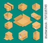 different box vector isometric... | Shutterstock .eps vector #737235745