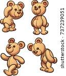 cartoon teddy bear in different ... | Shutterstock .eps vector #737239051