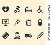 medicine icons set. collection... | Shutterstock .eps vector #737242921