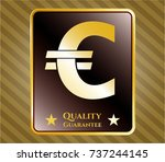 shiny badge with euro icon and ... | Shutterstock .eps vector #737244145