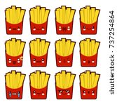 Emoji emoticon french fries with a lot of variation Set of kawaii face french fries emoticons. Isolated on white background. Flat design Vector Illustration EPS