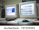 blur monitor of scanning... | Shutterstock . vector #737255491