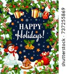 happy holidays wishes or... | Shutterstock .eps vector #737255869