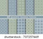 set of seamless line patterns.... | Shutterstock .eps vector #737257669