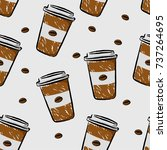 coffee cup seamless pattern in... | Shutterstock .eps vector #737264695