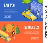taxi and school bus waiting... | Shutterstock .eps vector #737266231