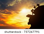 asia couple hiking help each... | Shutterstock . vector #737267791