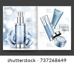 cosmetic magazine design  blue... | Shutterstock .eps vector #737268649
