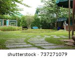 square stone pathway on the... | Shutterstock . vector #737271079