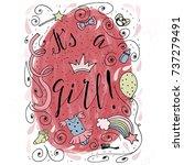 a hand drawn congratulatory... | Shutterstock .eps vector #737279491