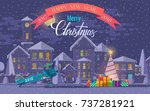 christmas greeting card. ... | Shutterstock . vector #737281921
