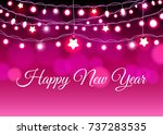 glowing garland on the red... | Shutterstock .eps vector #737283535