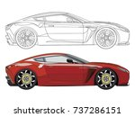 detailed side of a flat red car ... | Shutterstock .eps vector #737286151