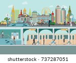cityscape with subway train... | Shutterstock .eps vector #737287051