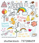 set of colorful doodle on paper ... | Shutterstock .eps vector #737288659