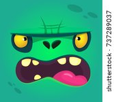 cartoon angry zombie face.... | Shutterstock .eps vector #737289037