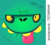 cartoon cute zombie face... | Shutterstock .eps vector #737289049