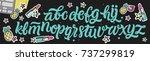 vector funny comics font. hand... | Shutterstock .eps vector #737299819
