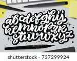 Vector hand drawn typeface in graffiti style.
