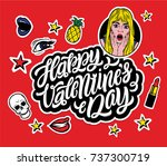 creative colorful stickers with ... | Shutterstock .eps vector #737300719