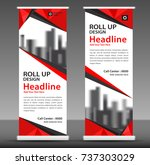 red roll up banner stand... | Shutterstock .eps vector #737303029