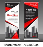 red roll up banner stand... | Shutterstock .eps vector #737303035