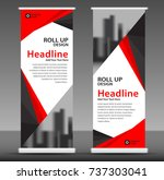 red roll up banner stand... | Shutterstock .eps vector #737303041