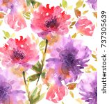 seamless pattern with flowers... | Shutterstock . vector #737305639