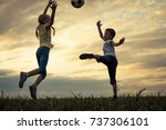 happy young little boy and girl ... | Shutterstock . vector #737306101