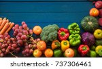 flat lay of fresh  fruits and... | Shutterstock . vector #737306461